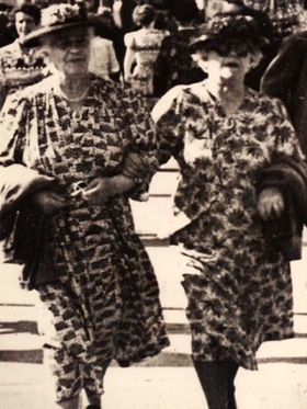 Mary Ann Rayment (née Bishop) with sister Adelaide, c.1945.