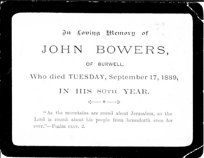 John Bowers death card, 1889