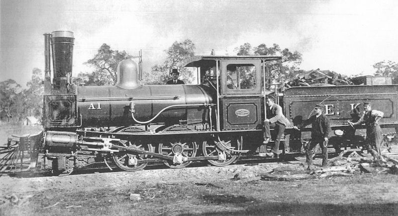 Charles Cooper with locomotive using his Spark Arrester invention in Australia