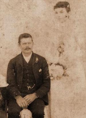 Ephraim Cross and Sarah Elizabeth Buttershaw at their wedding in 1892.