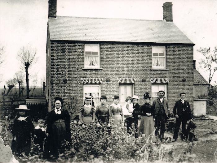 The Gilbert family at Burnt Chimney Drove, Littleport, Cambridgeshire, circa 1913