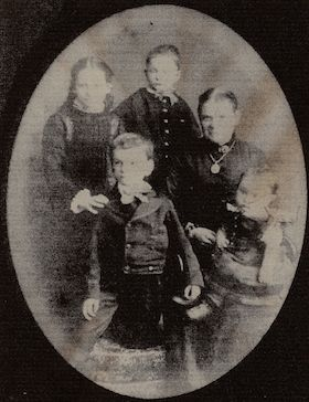 Jane Elizabeth Crabb (née Gothard) with her family, circa 1882.