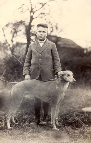 Wilfred Newman with a greyhound, circa 1925. Photo: Andrew Martin