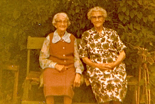 Nellie Mussett (née Barber) with her sister Louisa Pope (née Barber, formerly Hopkin) circa 1970.