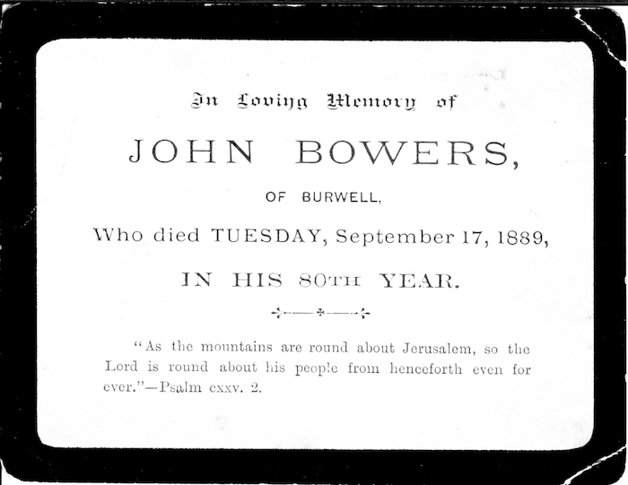 John Bowers of Burwell death card, 1889