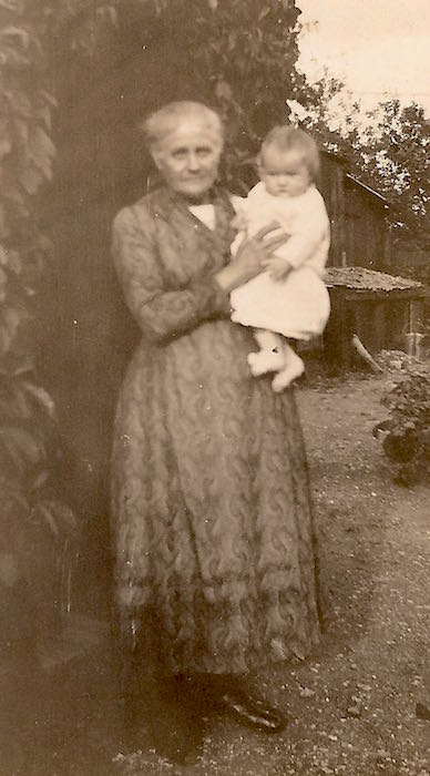Mary Ann Moden (née Cross) holding one of her granddaughters, c.1931.