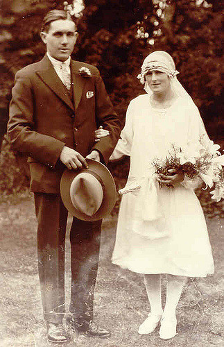 Lily Dewey and George Moden on their wedding day in 1929. Photo: Andrew Martin