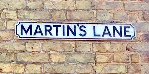 Martin's Lane, Little Downham sign