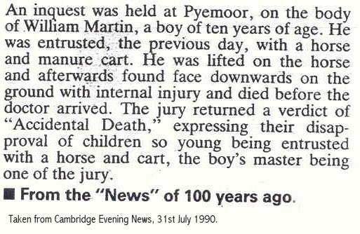 Death of William Martin newspaper report