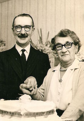 Mary Ann Moden with husband Jonathan Adair Tingey on their Golden Wedding Anniversary, 1967. Photo: Andrew Martin