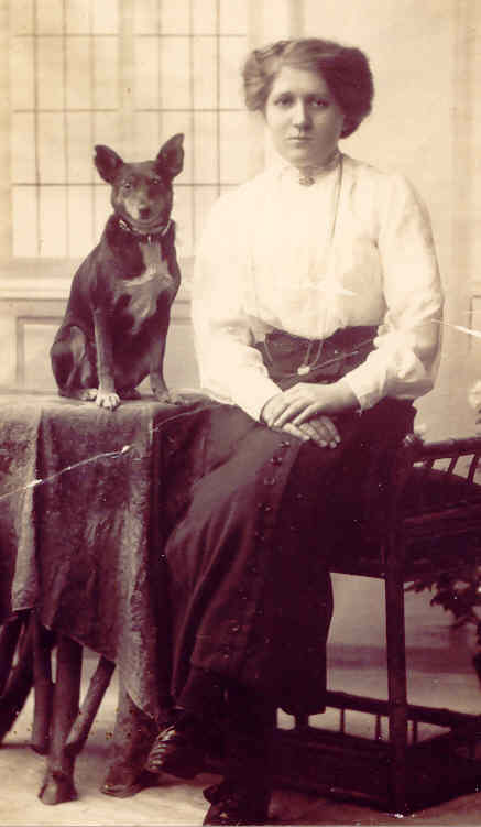 Susan Jane Moden posing with dog, circa 1910. Photo: Andrew Martin