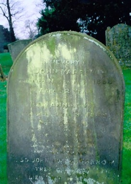 Headstone of Ann Whiten, with her husband John Yarrow, and grandson John Owen Yarrow at Stretham